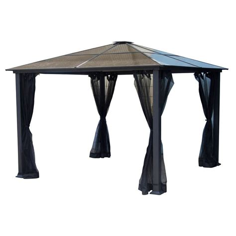 allen and roth gazebo allen roth 10 ft x 10 ft square hardtop gazebo lowe s