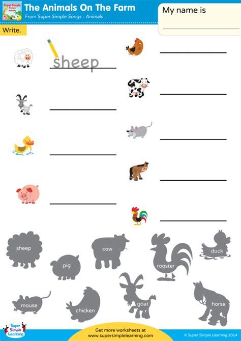 animals   farm worksheet write  animal
