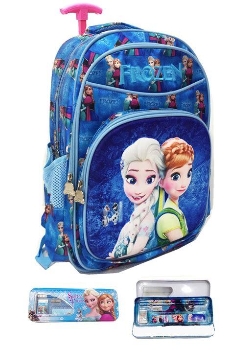 jual tas sekolah trolley anak frozen fever 3d timbul import biru motif di lapak