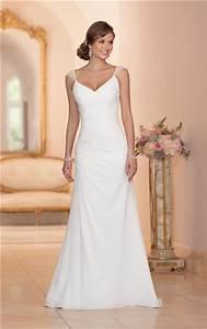 elegant v neck open back chiffon draped wedding dress with With v back wedding dress