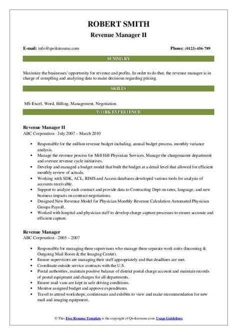 revenue manager resume samples qwikresume
