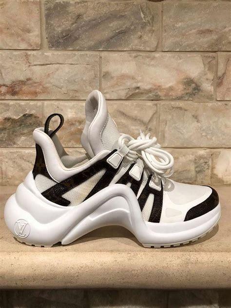 louis vuitton white lv archlight monogram lace logo flat trainer sneaker sneakers size eu