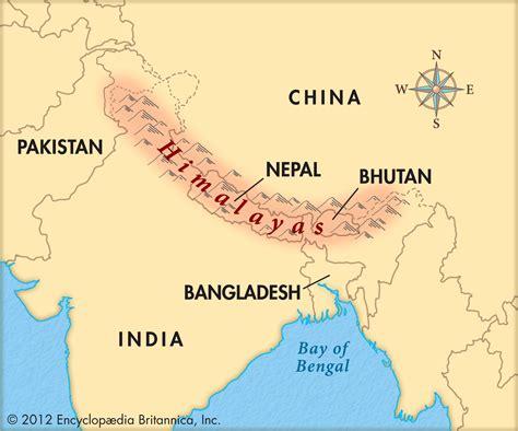map of himalayan ranges map of himalaya mountains