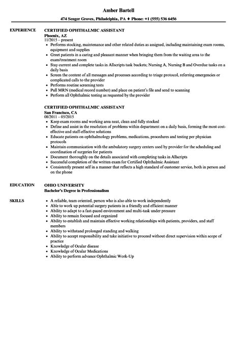 Certified Assistant Resume by Certified Ophthalmic Assistant Resume Sles Velvet