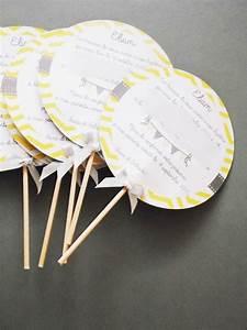 Idee Sympa Pour Bapteme : faire part jaune gris chevrons fanions pour annoncer un bapt me naissance faire part par ~ Farleysfitness.com Idées de Décoration