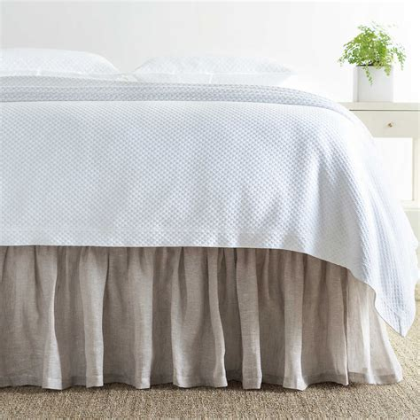 Savannah Linen Chambray Dove Grey Bed Skirt  Pine Cone Hill