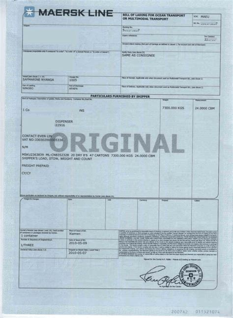 Maersk Line Bill Of Lading Tracking by Bill Of Lading Definition Template Q A Cargo From China