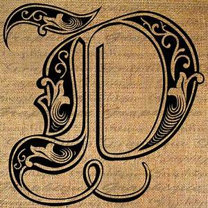 Items similar to LETTER Initial D Monogram Old ENGRAVING ...