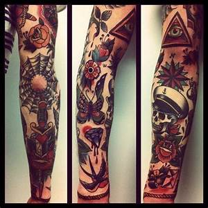 old school traditional tattoo sleeves