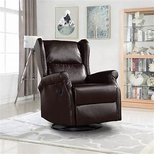 Reclining, Swivel, Accent, Chair, For, Living, Room, Faux, Leather, Arm, Chair, Brown