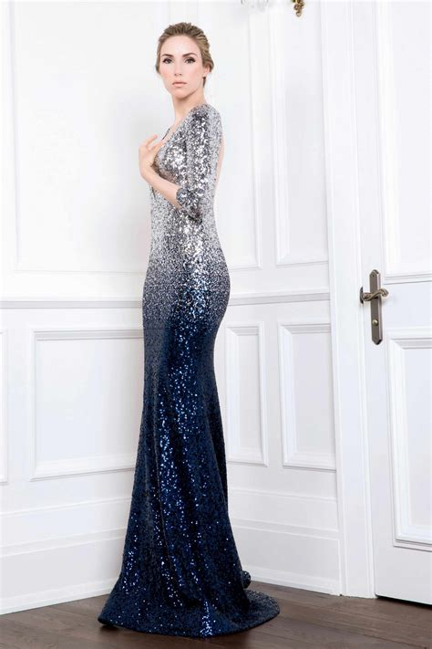 sequin  neck mermaid gown midnight blue silver ombre kelly