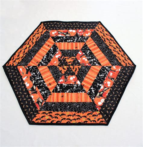 halloween quilted table runner hexagon halloween table runner quilt candle by