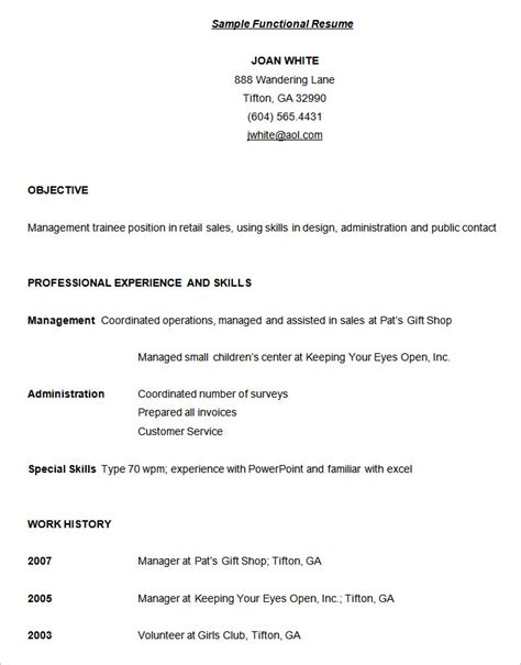 Functional Resume Exle by Functional Resume Template Free Free Excel Templates