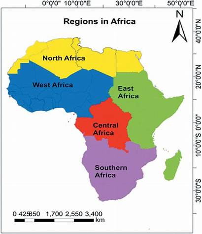 Regions Africa Map Five Showing Its African