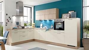 L Küche Günstig : culineo einbauk che in l form kunstststoffoberfl chen magnolia sonoma eiche korpus ~ Frokenaadalensverden.com Haus und Dekorationen