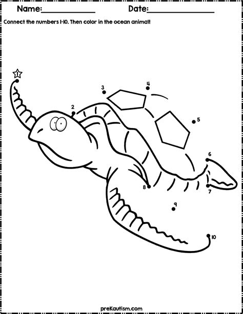 ocean animals dot  dot worksheets numbers