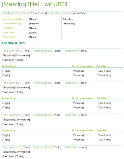 sample meeting minutes template word