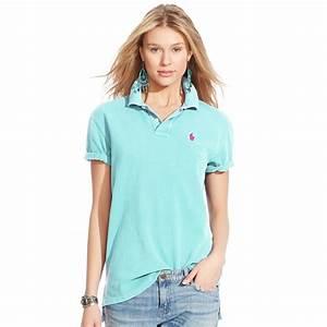 Polo ralph lauren Boyfriend Polo Shirt in Blue | Lyst