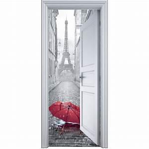 Deco Porte Interieure En Trompe L Oeil : sticker porte trompe l 39 oeil paris parapluie 90x200cm art d co stickers ~ Carolinahurricanesstore.com Idées de Décoration