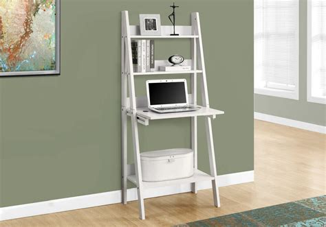 Bookcase With Drop Desk by Monarch White 61 Quot H Ladder Bookcase W A Drop Desk I