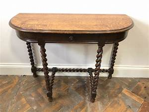 Antique, Oak, Hall, Table, Or, D, Table, With, Barley, Twist, Legs
