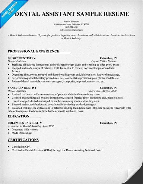 Dental Assistant Resume Sle by Dental Assistant Resume Dentist Health Resumecompanion