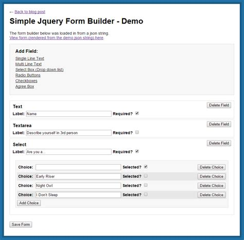 simple jquery form builder      projects
