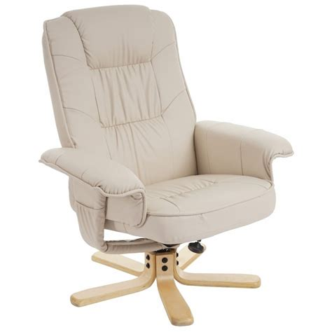 siege relax fauteuil relax en simili cuir crème pied en bois siège