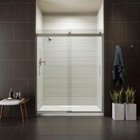 kohler levity sliding shower door kohler levity 59 in x 74 in frameless sliding shower 8820