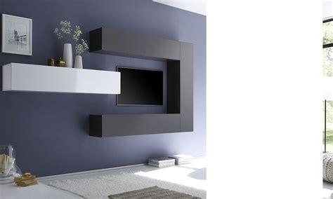 ensemble tv mural ensemble tv mural design laqu 233 gris fonc 233 et blanc