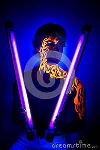 Brave Man Uv Portrait Neon Face Art Bright Fire Energy