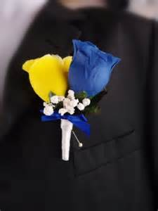 boutonniere prom royal blue and yellow men prom wedding boutonniere