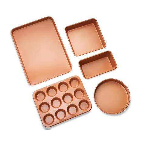 gotham steel  piece copper  stick ti ceramic ultimate bakeware set   home depot