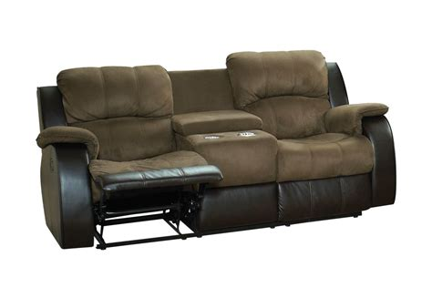microfiber reclining sofa with console lorenzo microfiber reclining loveseat with console at