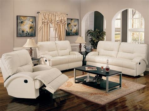 white bonded leather motion living room sofa woptions