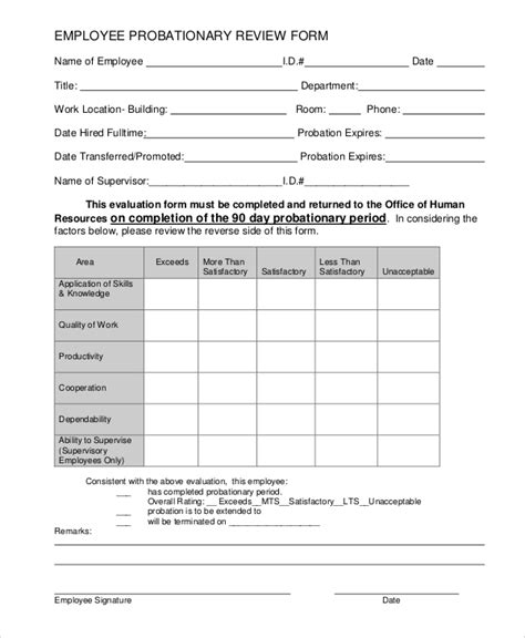 New Employee Probationary Period Form