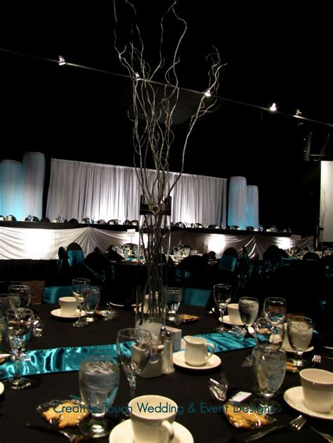black and silver table ls teal black and silver tablescapes uplights teal