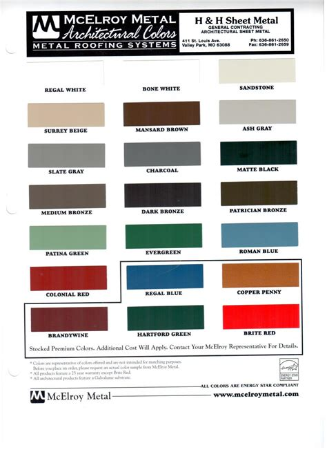h h sheet metal color charts