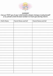 Church nursery sign in sheet thenurseries for Nursery sign in sheet template
