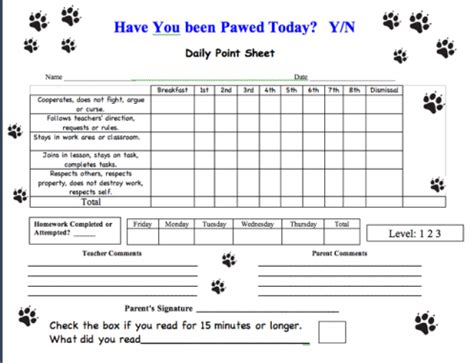 daily point sheets 373r s wolf den