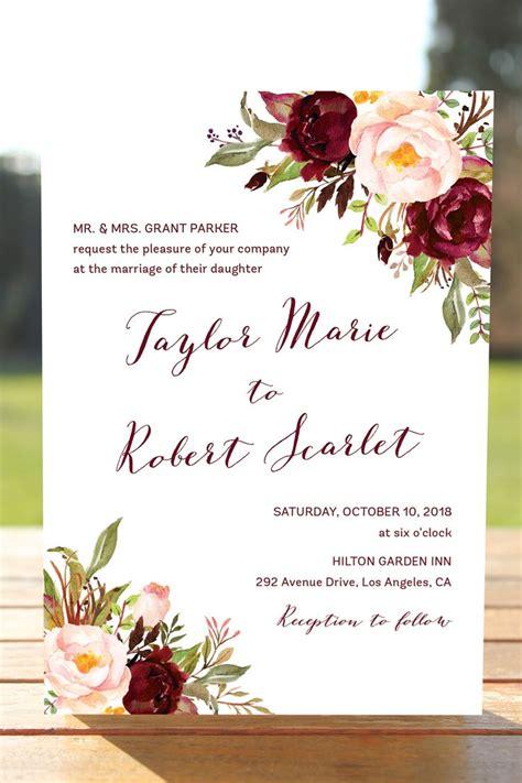 marsala wedding invitation set burgundy blush wedding