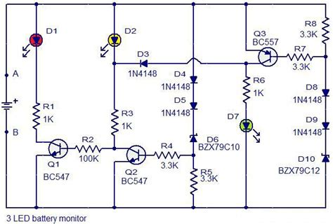 Led Battery Monitor Circuit Diagram Electrical