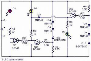 3 Led Battery Monitor Circuit Diagram