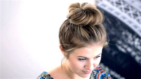 messy top knot  shortmedium hair tutorial milabu