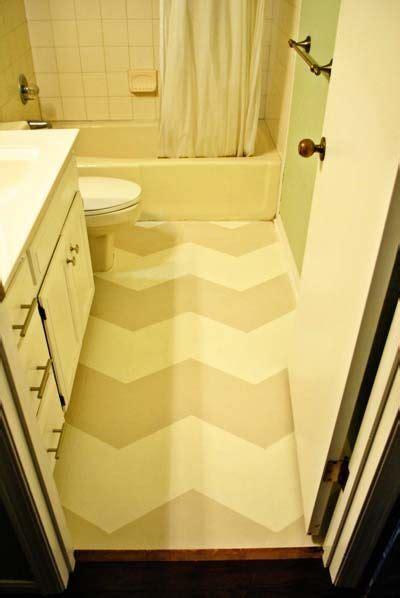 DIY Painted (linoleum) chevron floors via Minted Life