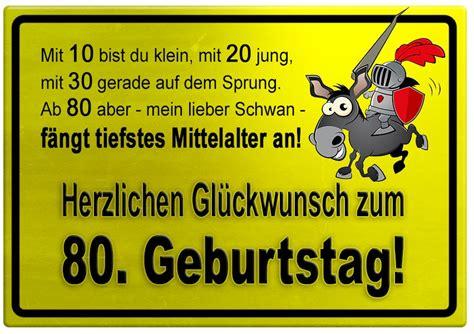 besinnliches zum 80 geburtstag gelbes schild mit esel und ritter zum 80 geburtstag geburtstagsspr 252 che welt