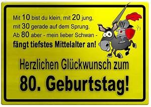 Besinnliches Zum 80 Geburtstag : gelbes schild mit esel und ritter zum 80 geburtstag geburtstagsspr che welt ~ Frokenaadalensverden.com Haus und Dekorationen