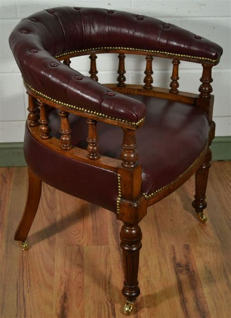 victorian oak captains chair  antique burgundy leather