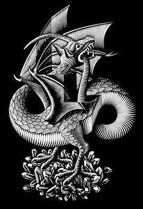 Drachen Schwarz Weiß : mc escher here there be dragons pinterest drachen schwarz wei und werbung ~ Orissabook.com Haus und Dekorationen