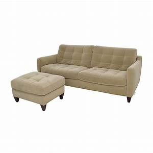 80 off natuzzi natuzzi beige microfiber tufted couch With tufted sectional sofa microfiber